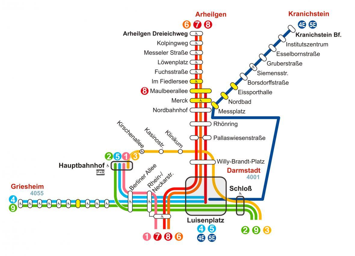 Auf den Linien 4 und 5 verkehren zwischen Luisenplatz und Kranichstein Bahnhof Ersatzbusse als Linien 4E und 5E.