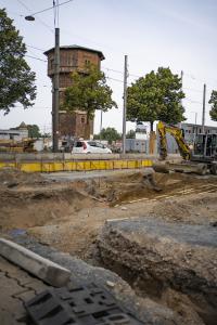 Die Arbeiten am Gleisdreieck Alsfelder Straße schreiten voran.