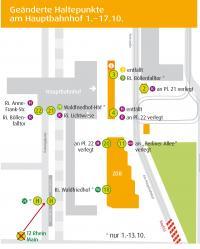 "Grafik ""Geänderte Haltepunkte am Hauptbahnhof 1.-17.10."""