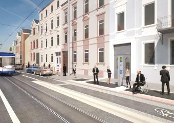 """Blick auf die neue Haltestelle """"Bessunger Straße"""""""